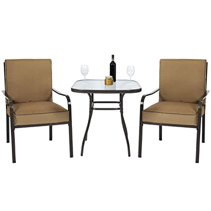 Best Choice Products 3pc Outdoor Patio Bistro Set W/ Glass Top Table, 2  Chairs