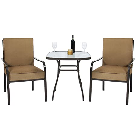 Best Choice Products 3pc Outdoor Patio Bistro Set W Glass Top Table, 2 Chairs W Cushions