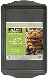casaWare Excel Cookie/Jelly Roll 10 x 15-Inch Pan Ceramic Coated NonStick (Silver Granite)
