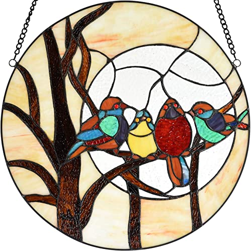 Bieye W10045 Tropical Birds on Branches at Night Tiffany Style Stained Glass Window Panel Hangings with Chain, 16-inch Wide Round Shape, Cream-Colored