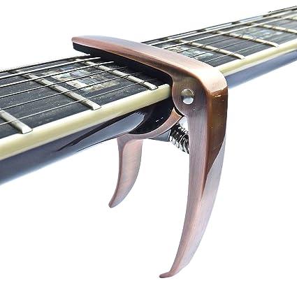 Cejilla para guitarra eléctrica/acústica, ukelelele, banjo, mandolina (bronce rojo)