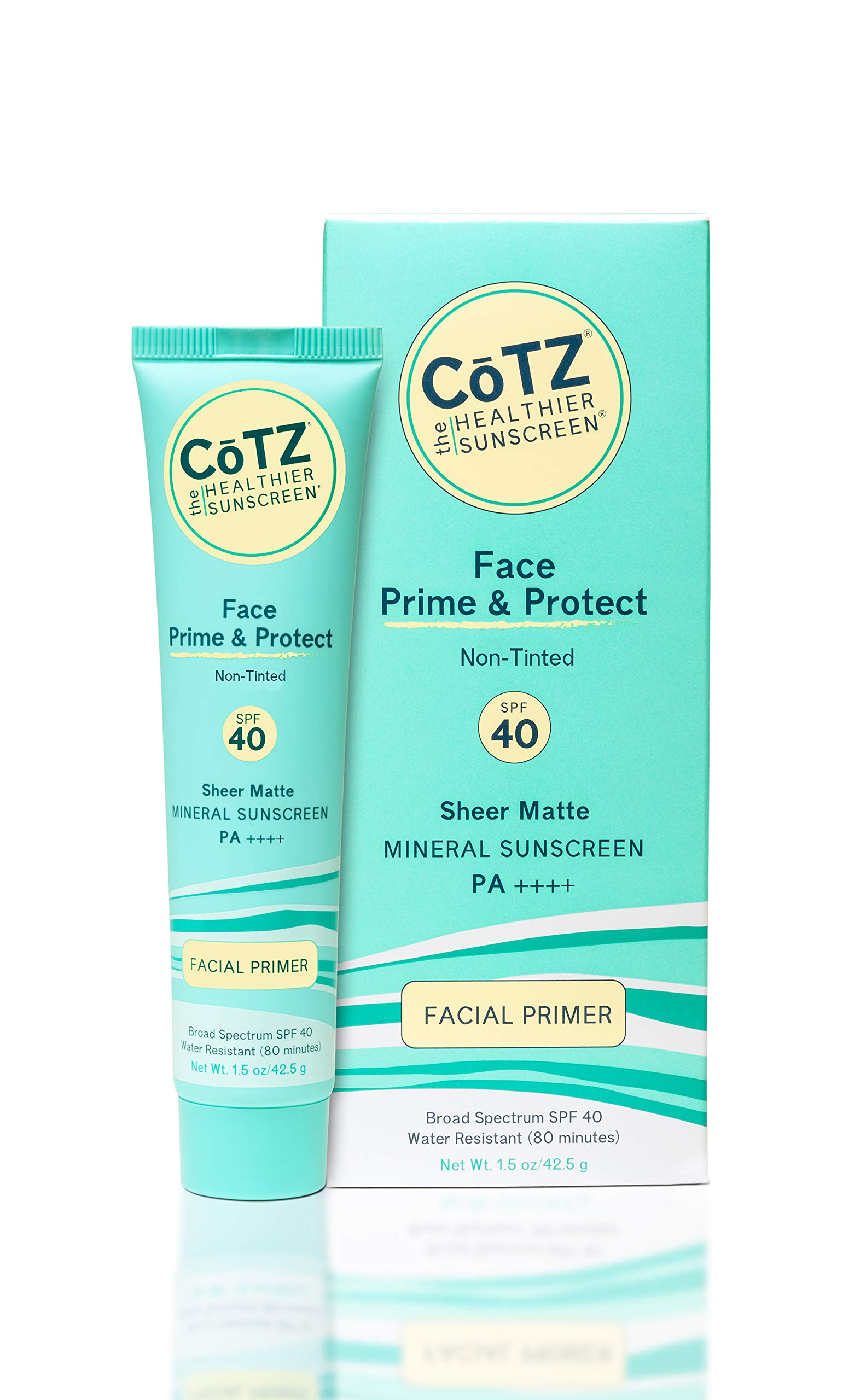 COTZ Face Prime & Protect Non-Tinted Mineral Sunscreen and Facial Primer Broad Spectrum SPF 40; PA++++ 1.5 oz / 42.5 g.