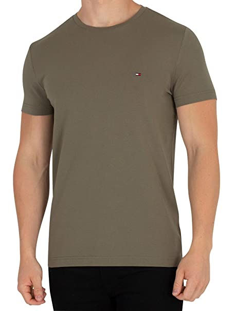 Tommy Hilfiger Hombre Stretch Slim Fit Camiseta, Verde, XX-Large