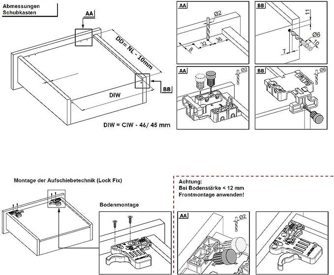 1 par de Smart Slide Carril-guías 350 mm con Push-Open y Soft ...