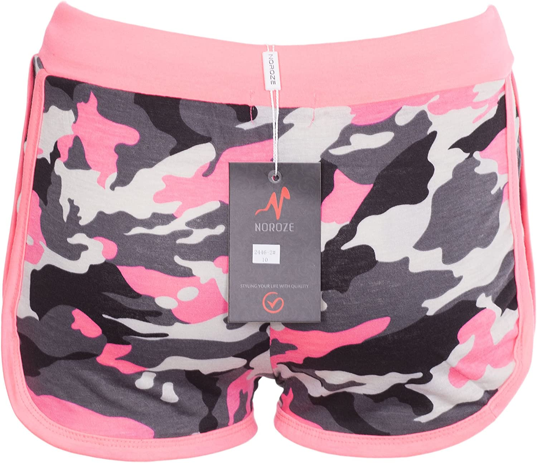 NOROZE Girls Kids Camo Brklyn Rose Print Hot Pants Shorts