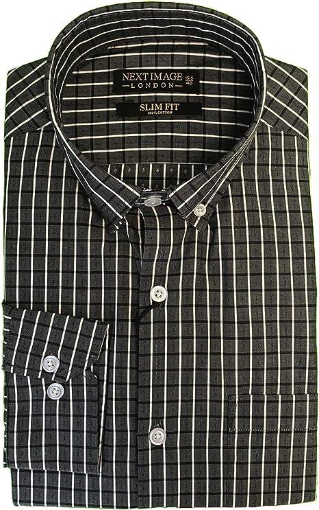 Next Image Camisa de hombre negra para hombre, rayas blancas ...
