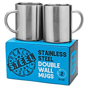 Stainless Steel Double Walled Mugs: 100% BPA Free,15 oz Metal Coffee & Tea Cup Mug - Insulated Cups with Handles Keep Drinks Hot or Cold Longer - Durable for Camping - Set of 2 Shatter Proof Mugs