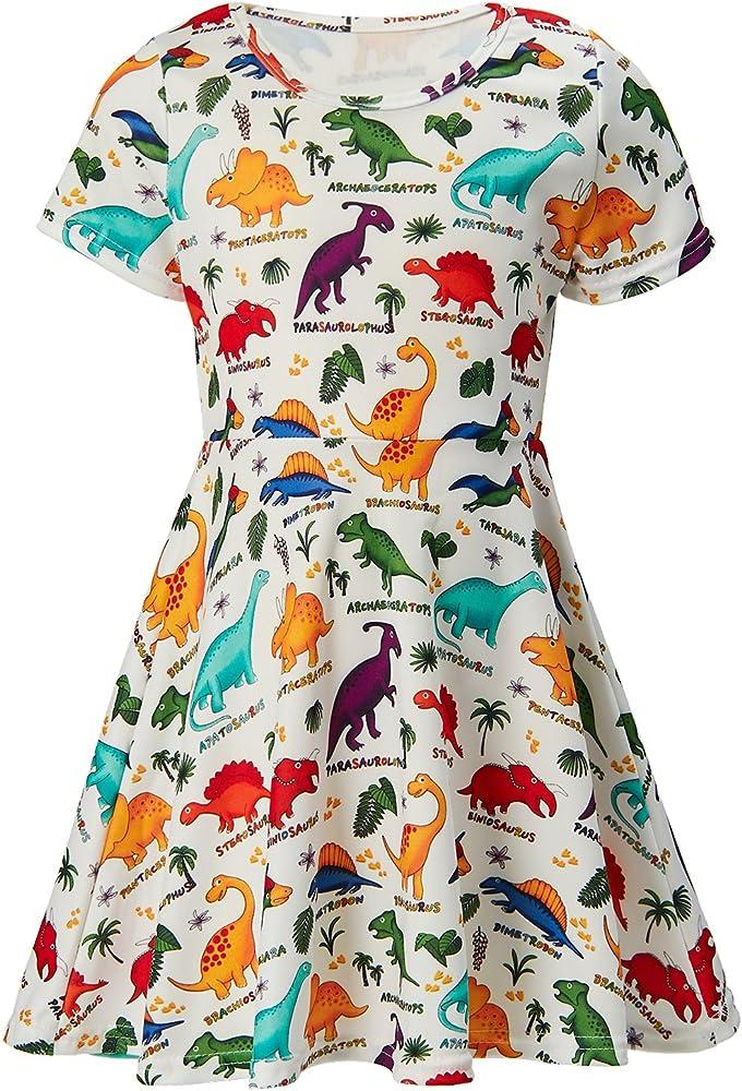ALISISTER Little Girls Dress Short Sleeve 90S Toddler Sundress Summer Apparel