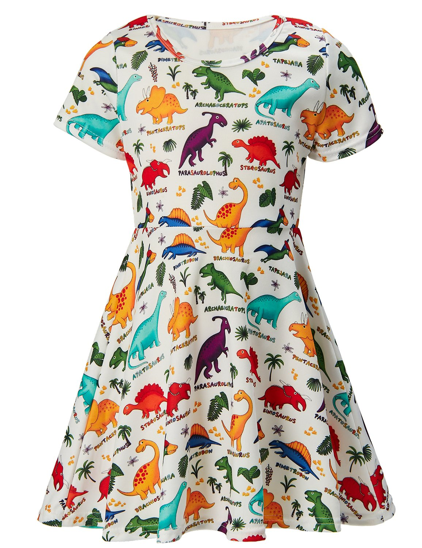 RAISEVERN Toddler Girls Dress Dinosaurs Print Pattern Short Sleeve Sundress Kids 4-5 Years