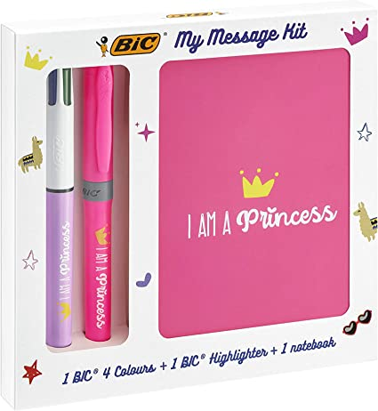 BIC My Message Kit I Am a Princess - Juego de Escritorio con 1 BIC 4 colores Bolígrafo, 1 BIC Highlighter Grip Bolígrafo (Rosa), 1 Libreta Tamaño A6 (Blanca), Pack de 3: Amazon.es: Oficina y papelería