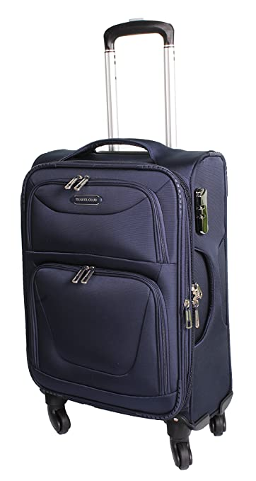 efd62aea2d3 Travel Club Unisex Dark Blue Polyester 4 Wheel Trolley Suitcase ...