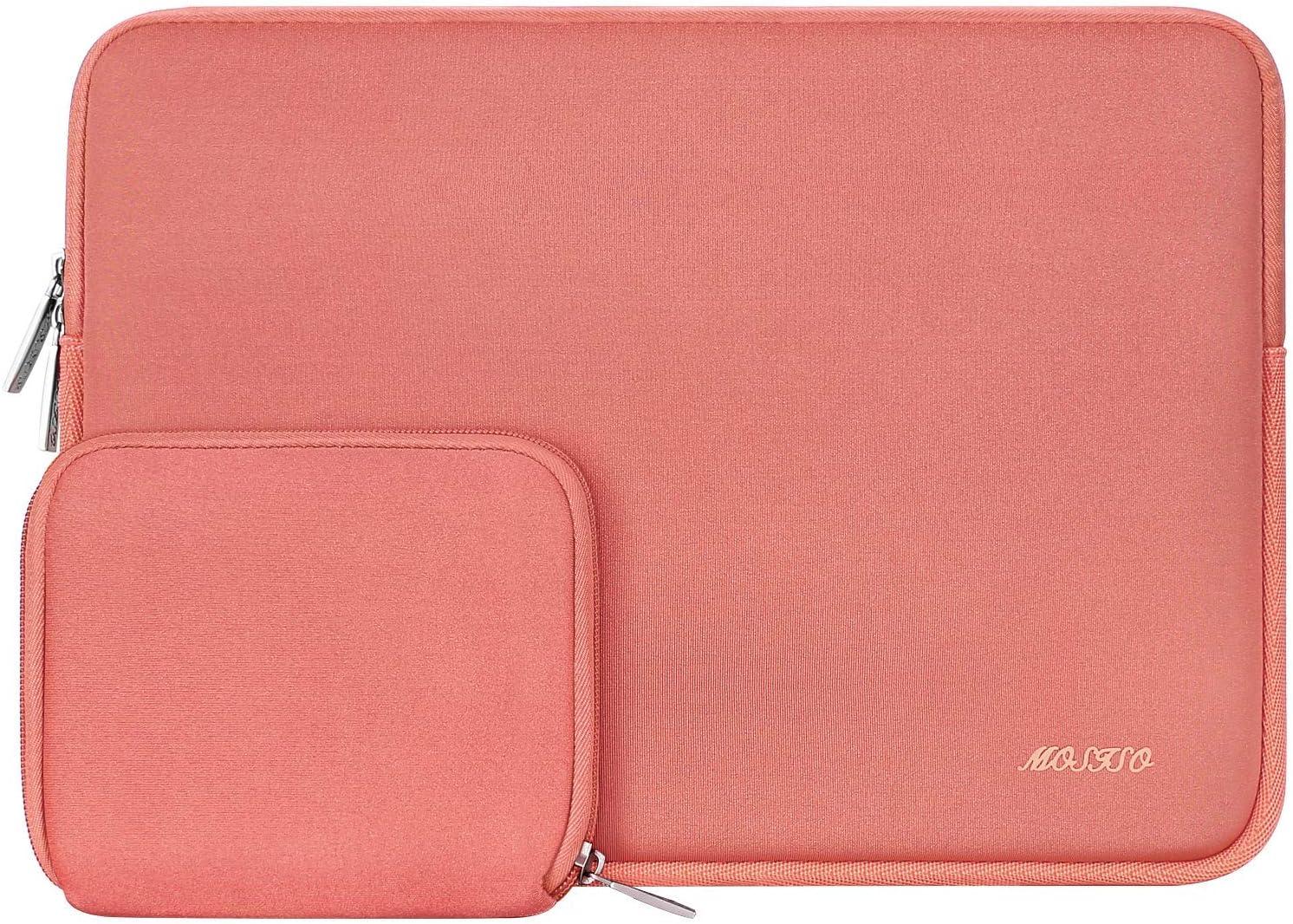 MOSISO Funda Protectora Compatible con 13-13.3 Pulgadas MacBook Air/MacBook Pro/Ordenador Portátil, Bolsa Blanda de Neopreno Agua Repelente con Pequeño Caso, Living Coral