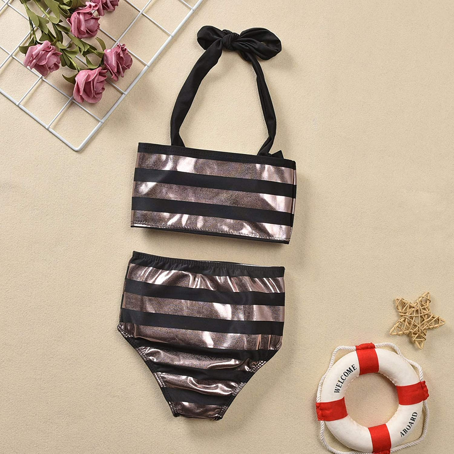 Toddler Baby Girl Two Piece Swimwear Bathing Suit+Cute High Waist Swimsuit Bikini