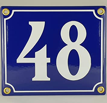 Emaille Schild Hausnummer 40 Blau-Wei/ßHandarbeit