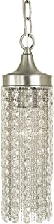 """product image for Framburg 2951 BN Penelope 1-Light Mini-Pendant with Crystal and Metal Curtain, Brushed Nickel, 14"""" x 4"""" x 4"""""""