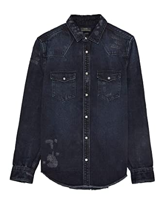 0e1d09a309 Zara Men Ripped Denim Overshirt 1821 350 at Amazon Men s Clothing store