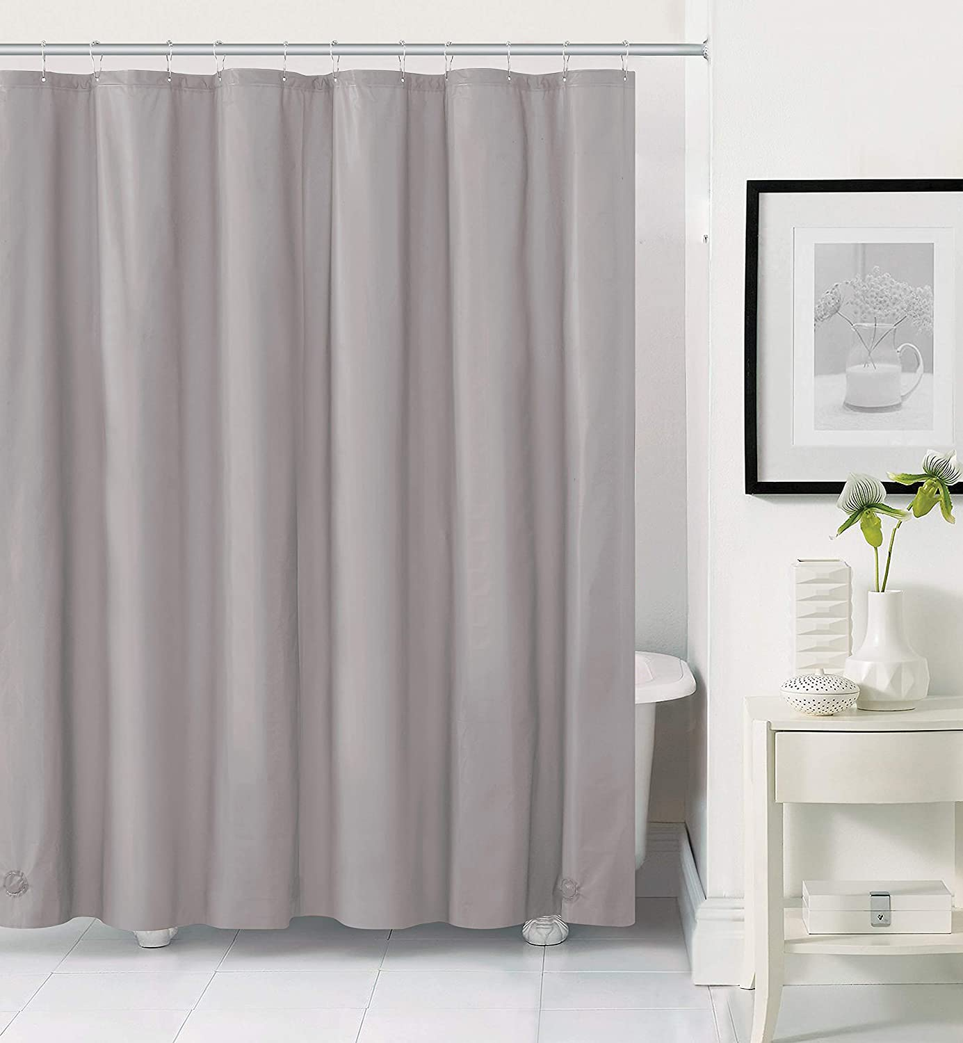 GoodGram Hotel Heavy Duty Premium PEVA Shower Curtain Liner with Rust Proof Metal Grommets - Assorted Colors (Silver)
