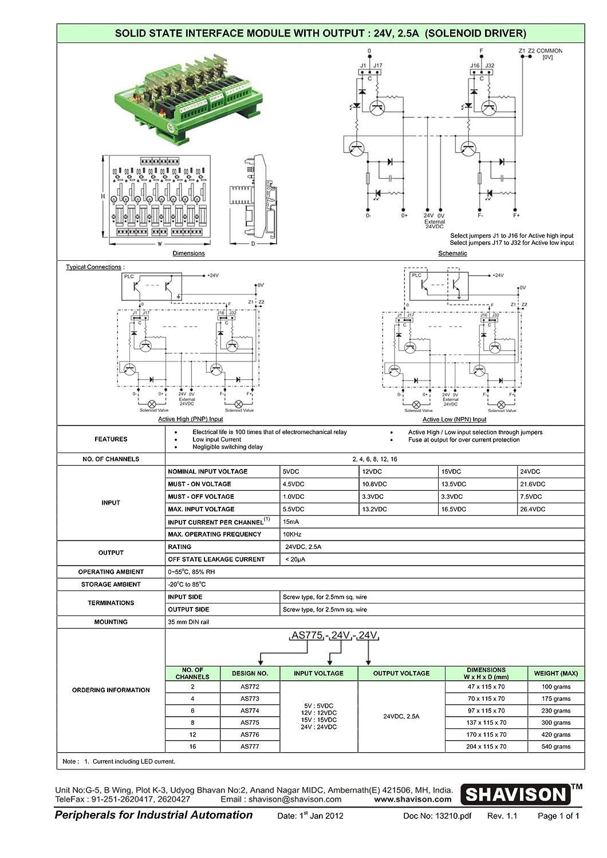 Shavison SSR Module (Transistor Based) AS775-24V-24V, 8 Channel, Solenoid on