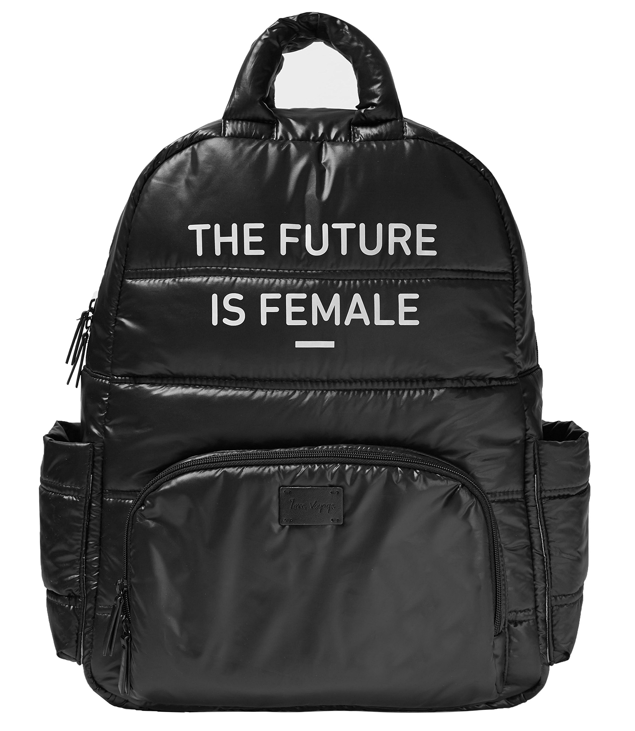 7AM Voyage Feminist Backpack Diaper Bag Version, Water Resistant, Travel Bag, Multi-Use, for Women and Men, Fits 15.6 Inch Laptop (Black, Puff Material)