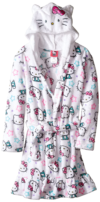 Komar Kids Big Girls' Hello Kitty Hooded Fleece Robe White 2T