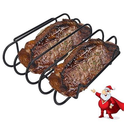 Kalrede Rib Rack Bbq Non Stick Holder For Grilling 4 Holds Heavy