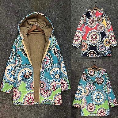 Vectry Mujer Abrigo Estampado De Invierno con Botones y Capucha, El Abrigo De Estampado De