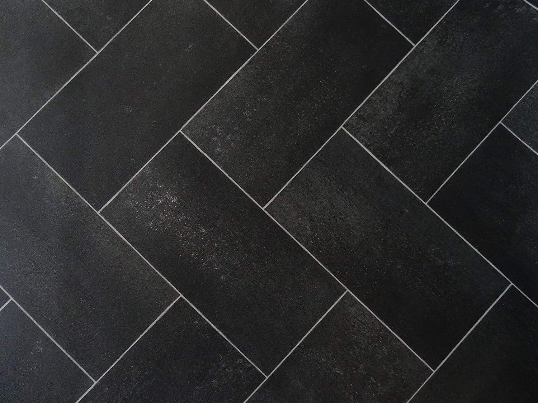 schwarz PVC Bodenbelag mit verschachtelten Fliesen kleines Muster 9,95/€//m/²