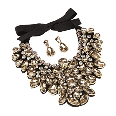Holylove Champagne Costume Statement Necklace with Earrings for Women  Jewelry Fashion Necklace 1 Set with Gift 70c2a0456c