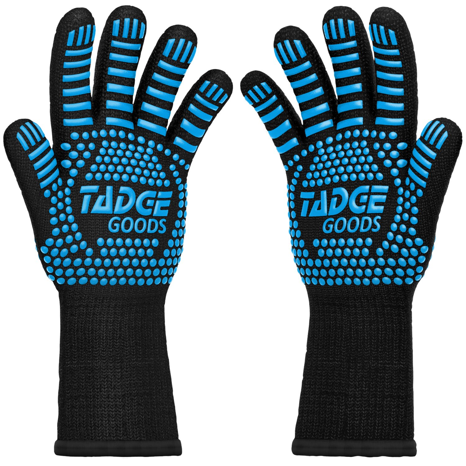 Oven Mitts Heat Resistant BBQ Gloves – Best Silicone Cooking & Grilling Accessories – Extreme Hot 932 Degrees Hand & Forearm Protection, Blue by Tadge Goods