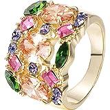 Yoursfs Multi-Colorato Cristallo Austriaco Anelli Taglio CZ per Donne 18ct Oro Giallo Placcato Fidanzamento/Matrimonio Grande Anello per Regalo di San Valentino