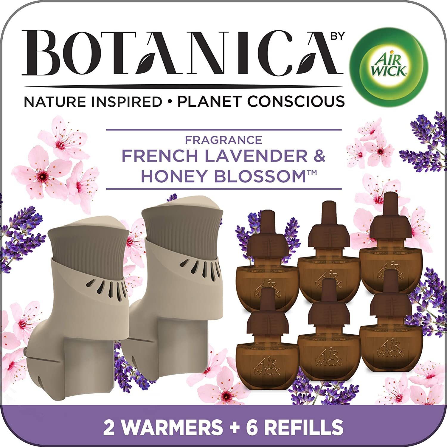 Botanica by Air Wick Plug in Scented Oil Starter Kit, 2 Warmers + 6 Refills, French Lavender and Honey Blossom, Air Freshener, Eco Friendly, Essential Oils