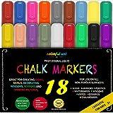 Colourful Art CHALK PENS & MARKERS - MEGA 18 Pack, BEST for Kids Art, Menu Bistro Board Cafe Boards - Glass & Window Erasable Pens - 6mm Fine or Chisel Tip - Neon Coloured Inc Gold & Silver