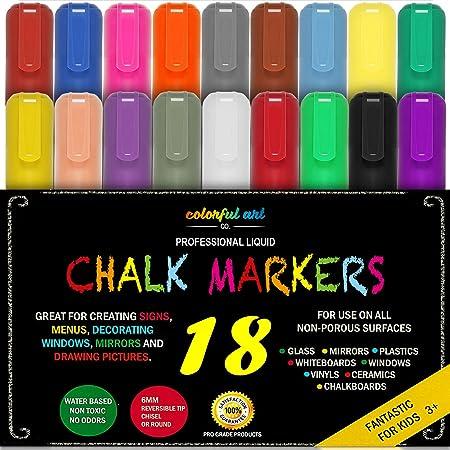 Colorful Art Kreide Marker Mega 18 Stück, Best for Kids Kunst, Menu Board Bistro Boards – Glas & Fenster Paint Marker Stifte,