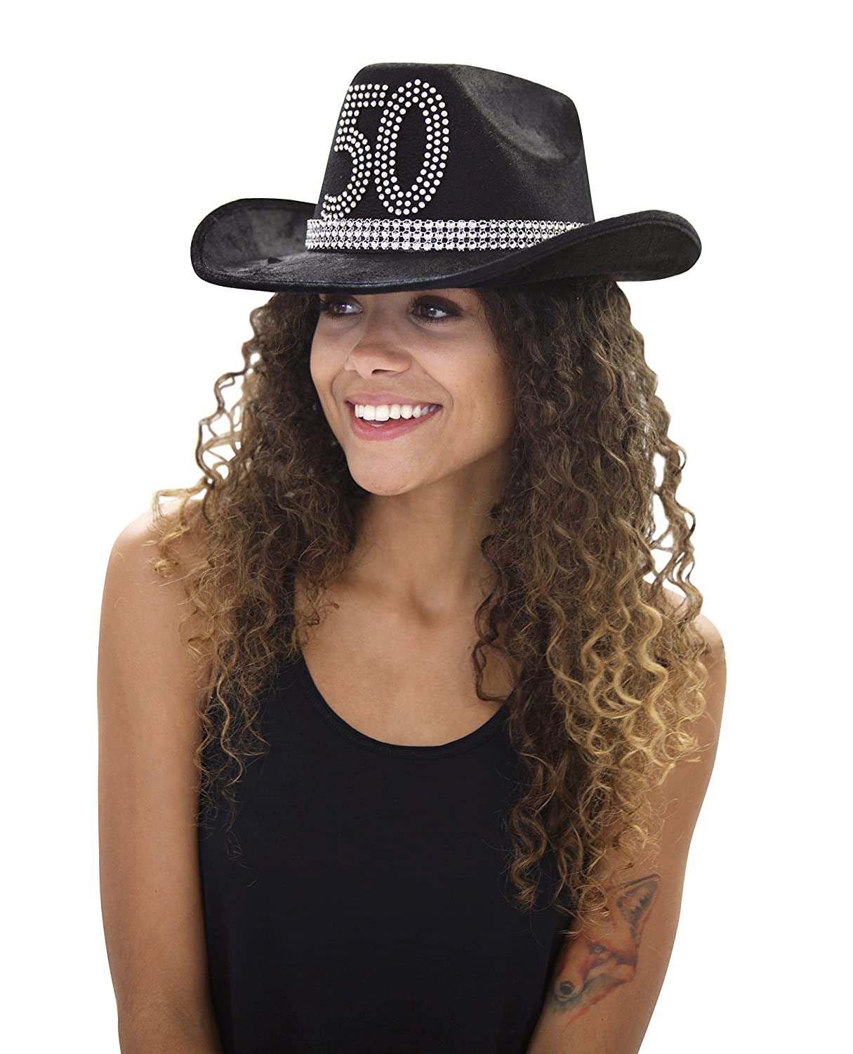 9996cf4943f Country Western 50th Birthday Rhinestone Cowboy Hat - Cowgirl 50th Birthday  Party Decorations   Supplies - Black -  Amazon.co.uk  Clothing