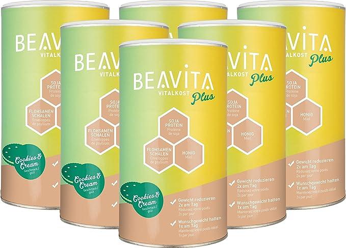 BEAVITA Vitalkost sabor Cookies & Cream - 6 x 572g Batido sustitutivo de comida - SOLO 208 kcal - Bebida dietética con proteína, vitaminas y minerales - Suplemento para adelgazar - Fórmula