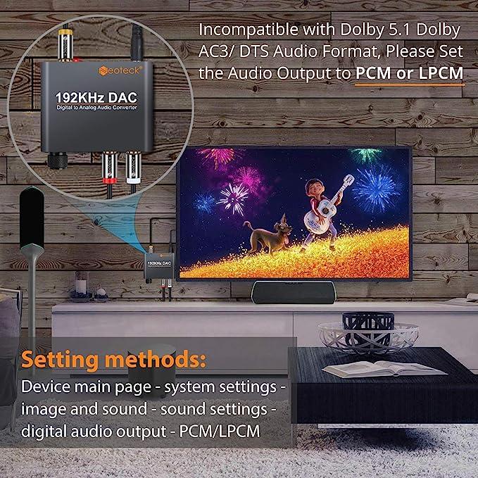 Neoteck 192kHz DAC Conversor Digital Óptical Coaxial Toslink a Analógico Estéreo L/R RCA 3.5mm Jack Audio con Volumen Ajustable Convertidor Adaptador para PS34 Xbox HD DVD Sky HD Plasma BLU-Ray: Amazon.es: Electrónica