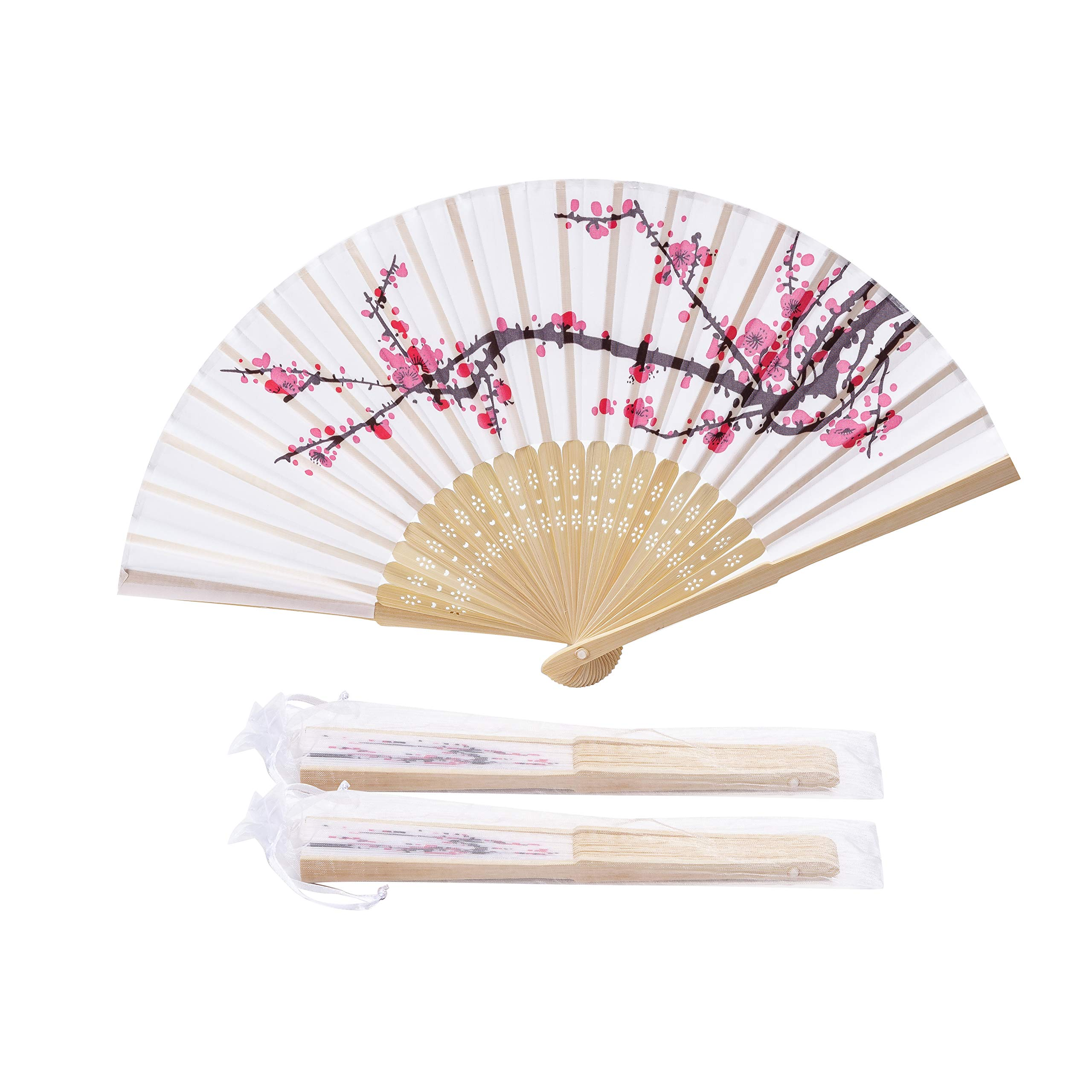 Sepwedd 50pcs Delicate Plum Blossom Blossom Design Imitated Silk Fabric Bamboo Folded Hand Fan Bridal Dancing Props Church Wedding Gift Party Favors with Gift Bags by Sepwedd