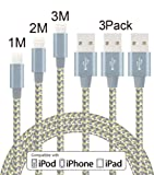 Elebar 3Pack 1M,2M,3M Nylon Braided Lightning to USB Cable, Lightning Data Sync & Charge USB Cable for iPhone SE 7 7SPlus 6S 6S Plus 6 6Plus 5S 5C 5, iPad , iPod Nano, iPad Pro and More - Gray & Gold