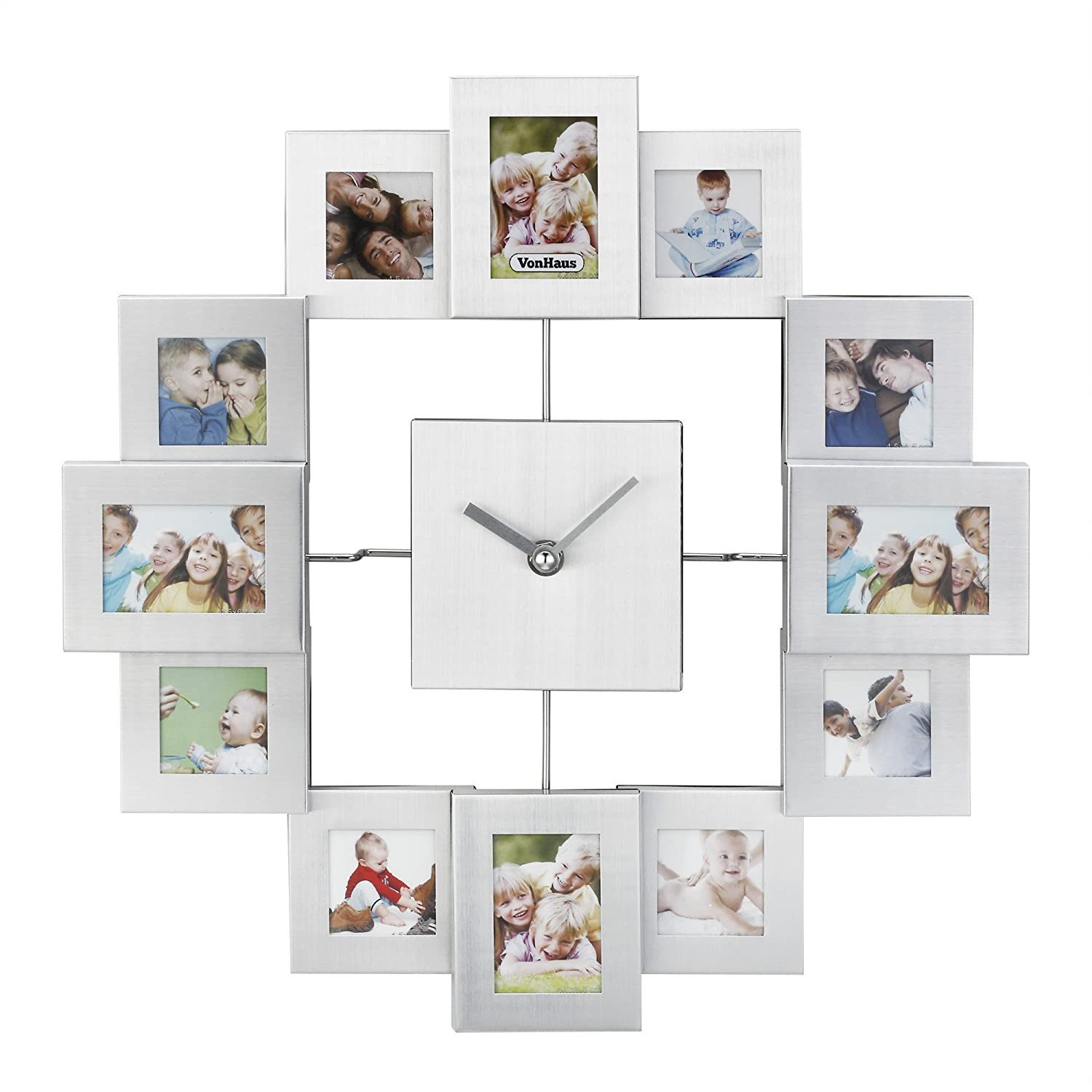Superb Amazon.com: VonHaus 12 Picture Aluminum Decorative Photo Frame Wall Clock  Silver: Home U0026 Kitchen Good Looking