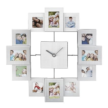 VonHaus Reloj con marcos de fotos de aluminio cepillado para 12 fotos, color plateado