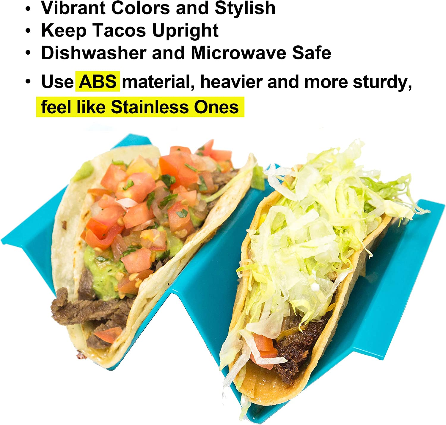 Youngever Taco Holder Stand Set of 5, Large Regular Size, Taco Plate, Taco Truck Tray Style, ABS Material, Very Hard and Sturdy, Dishwasher Top Rack ...