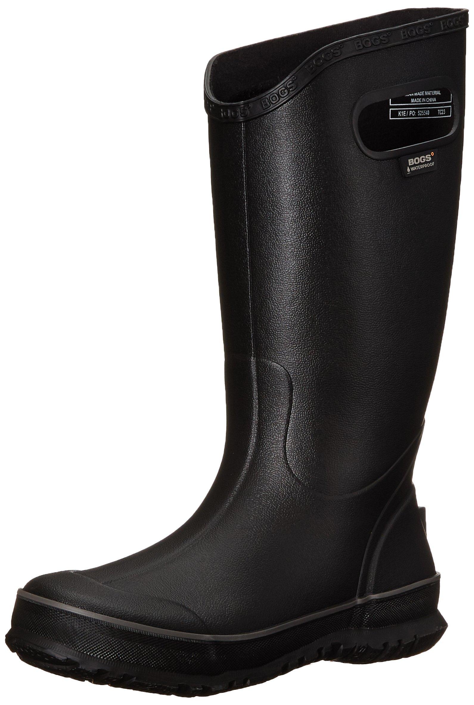 Bogs Men's Waterproof Rubber Rain Boot, Black, 11 D(M) US by BOGS