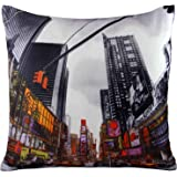 Decorative Scatter Cushion Covers Vintage Retro Style 17 x 17 Photo Printed Cover (Times Square) by Generic