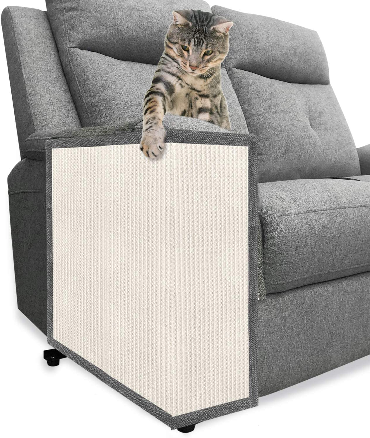 BIGA Cat Scratch Furniture Protector with Natural Sisal for Protecting Couch Chair Sofa