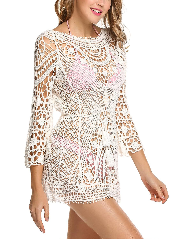 8069651350 Avidlove Women's Crochet Bikini Cover Up Backless Beach Wear Bathing Suit  Beach Dress White at Amazon Women's Clothing store: