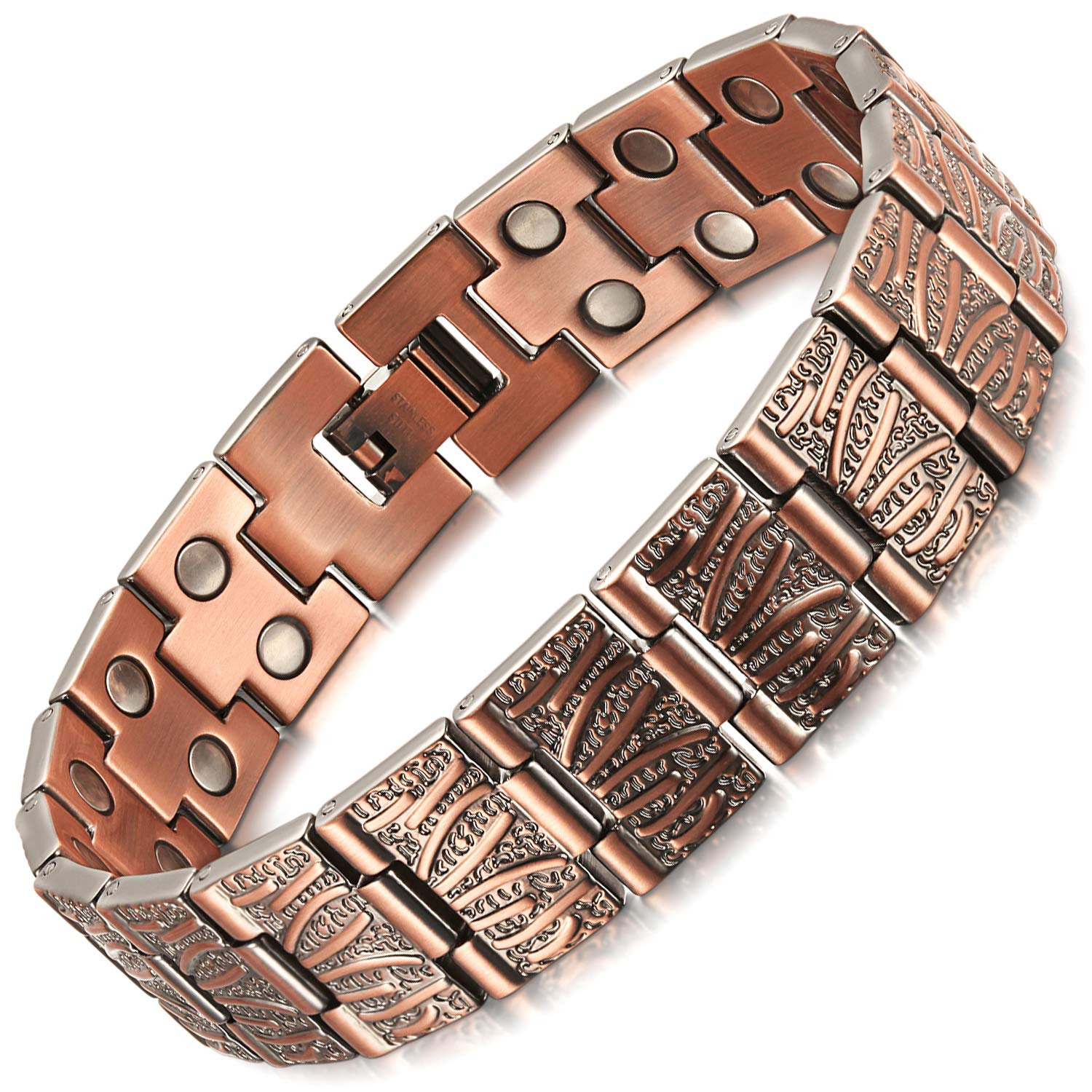 Rainso Mens Double Row Pure Copper Magnetic Therapy Bracelet Pain Relief for Arthritis Adjustable