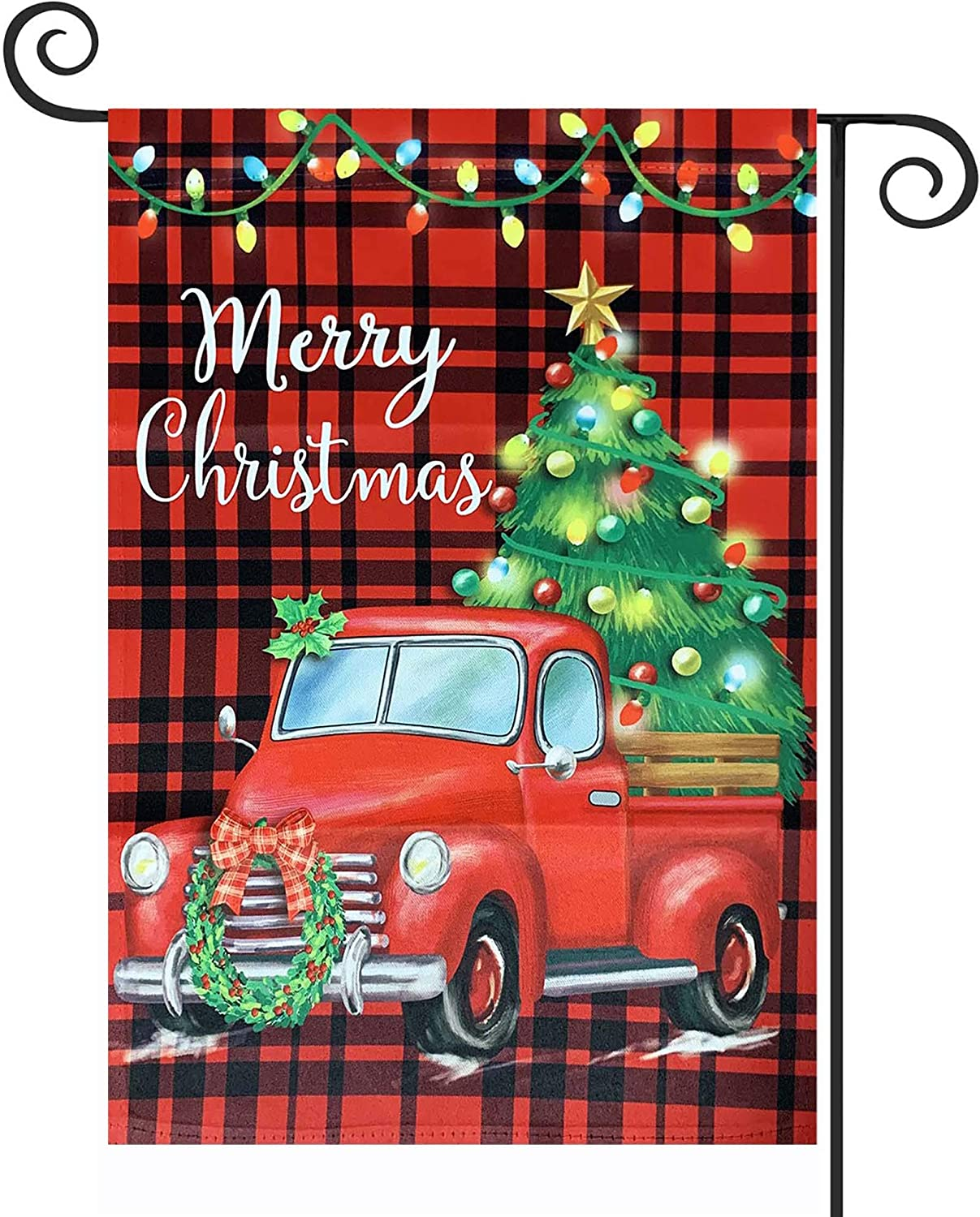 TOPFLAGS Christmas Garden Flag Double Sided, Red Truck Vintage Tree Buffalo Plaid Yard Flag, Merry Christmas Yard Outdoor Indoor Xmas Decoration 12.5 x 18 Inch