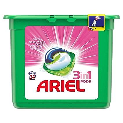Ariel 3en1 Pods Detergente En Cápsulas, Sensaciones, Limpieza Increíble, Limpia, Quita Manchas, Ilumina - 24 Lavados