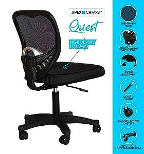Apex Chairs™ Quest Medium Back revolving Office Chair