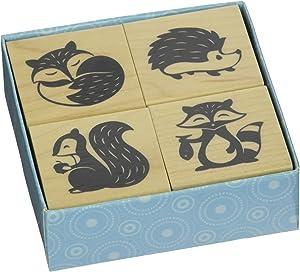Inkadinkado Woodland Critters Mounted Rubber Stamp Set, 4 pc